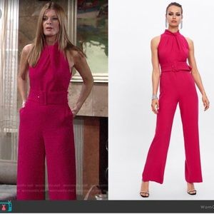 ZARA new! Pink belted jumpsuit